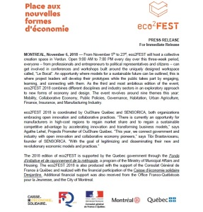 eco2FEST press release by Winluck Wong, Montreal writer