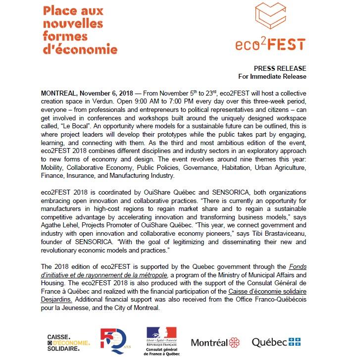 eco2FEST press release by Winluck Wong, New Brunswick writer
